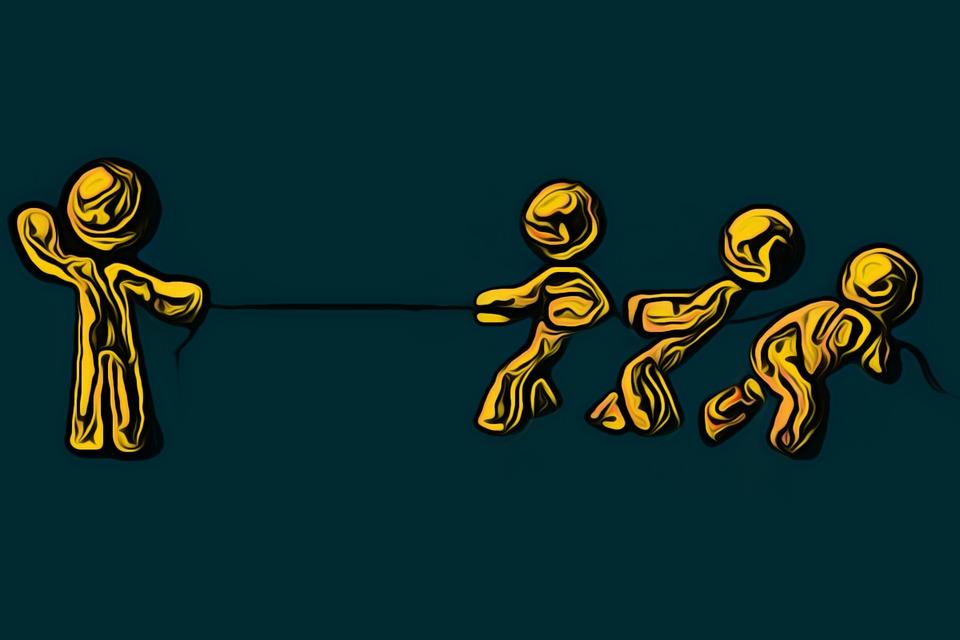 Ilustração de cabo de guerra